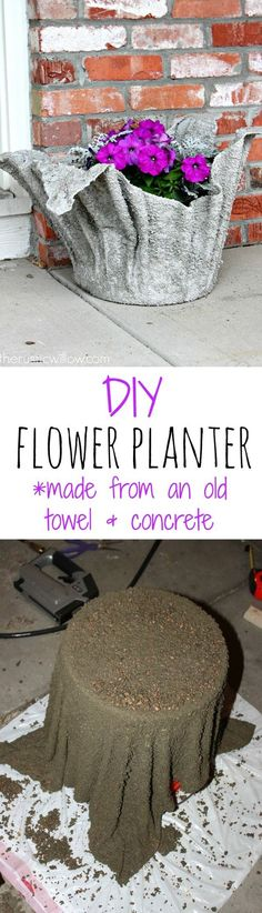 Concrete Planter DIY concrete flower planter, made from just an old towel and some concrete! Super simple project with a gorgeous outcome Diy Concrete Planters, Concrete Garden, Diy Planters, Garden Planters, Planter Ideas, Garden Crafts, Garden Projects, Garden Art, Concrete Crafts