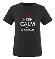 Comedy Shirts - KEEP CALM AND BE YOURSELF - hombre T-Shirt camiseta - negro / blanco-rojo tamaño M #camiseta #friki #moda #regalo