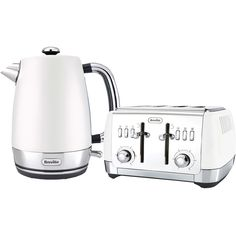 Breville Strata Collection Kettle and Toaster Bundle ($155) ❤ liked on Polyvore featuring home, kitchen & dining, small appliances, white 4 slice toaster, slice toaster, electric tea kettle, kitchen electrics and white toaster