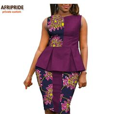 Online Shop 2018 Autumn african women casual suit AFRIPRIDE private custom sleeveless pleated top+knee-length pencil skirt plus size African Fashion Ankara, African Fashion Designers, Latest African Fashion Dresses, African Dresses For Women, African Print Dresses, African Print Fashion, Africa Fashion, African Attire, African Wear