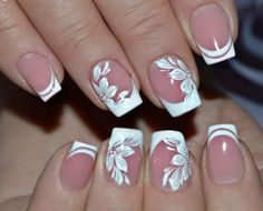 Make an original manicure for Valentine's Day - My Nails French Nail Art, French Nail Designs, Nail Art Designs, Hot Nails, Pink Nails, Fancy Nails, Pretty Nails, Bridal Nail Art, Finger Nail Art