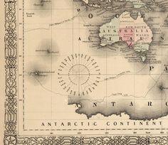 Old World Map Atlas Vintage World Map 1864 Mercator projection