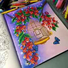 Really enjoy colouring this. May colour another from the same book 😉. Will see how it goes and where my inspiration takes me. Adult Coloring, Coloring Books, Coloring Pages, Polychromos, Faber Castell, Bird Cage, Twilight, Mandala, Drawings