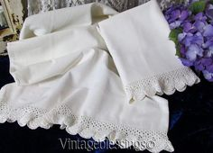 Pretty Cottage Home! Handmade Lace edged Vintage Pillowcases  Vintageblessings