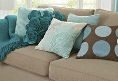 Teal, Tan, Gray and Brown. I want to spice my living room up with throw pillows and fun curtains! - SJ 💙just to spice it up. Taupe Living Room, Living Room Colors, New Living Room, Living Room Decor, Pillow Room, Living Room Inspiration, Brown And Grey, Brown Teal, Dark Teal