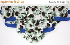 ON SALE Dog Bandana - S-Xl - Glittery Pine Cone Needles and Pine Cones - Cotton - Free Shipping by PatienceWayShop on Etsy