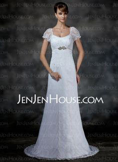 Wedding Dresses - $208.99 - Empire Scoop Neck Sweep Train Satin Lace Wedding Dresses With Beadwork (002000214) http://jenjenhouse.com/Empire-Scoop-Neck-Sweep-Train-Satin-Lace-Wedding-Dresses-With-Beadwork-002000214-g214