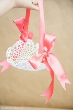 Lace Flower Girl Basket- DIY www.fancypantsweddings.com