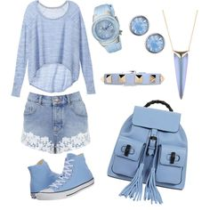 PowderBlue by tanz-mim on Polyvore featuring polyvore fashion style Victoria's Secret Miss Selfridge Converse Gucci Swiss Legend Valentino Alexis Bittar Lonna & Lilly