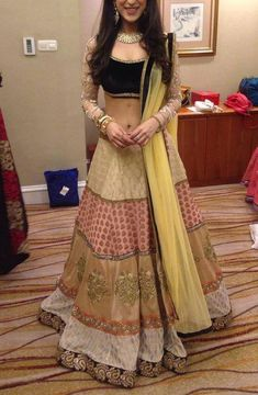 Beauty...Awesome chaniya choli..sober colors for reception