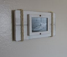 Reclaimed Cedar Shabby chic Nautical Beach cottage 4X6 Beach Plank Picture Frame in Distressed Whisper White