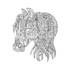 Horse head zentangle royalty-free stock vector art