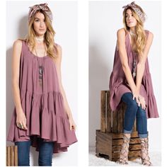 """NEW MAUVE fly away tunic CUTE Sz S M L Super cute fly away tunic. MAUVE  small medium  large  Small bust up to 36"""" Medium bust up to 38"""" Large bust up to 40""""  Total length shoulder seam down 34"""".    RETAIL BRAND NEW BUT NO TAGS   100% rayon  This listing is for MAUVE. The white tunic is just to show you the style of back Tops"""