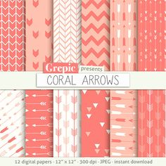 """Arrows digital paper: """"CORAL ARROWS"""" backgrounds with arrow patterns, tribal archery, triangles backgrounds in coral, orange, peach colors by Grepic on Etsy"""