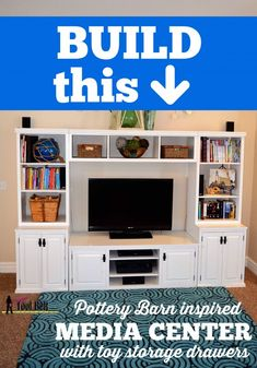 DIY Pottery Barn Media Center Building Plans & Tutorial from Her Tool Belt (via Remodelaholic) Diy Furniture Projects, Handmade Furniture, Home Projects, Wood Furniture, Woodworking Projects, Woodworking Bench, Toy Storage, Storage Drawers, Kitchen Storage