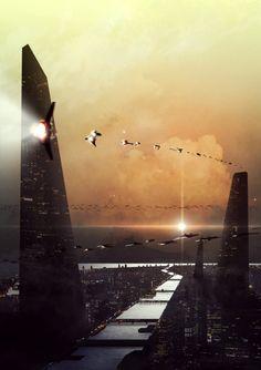 Practice by Long Pham, future city, futuristic city, cyberpunk city, futuristic… Cyberpunk City, Futuristic City, Futuristic Architecture, Fantasy City, Sci Fi Fantasy, Fantasy World, Dark Fantasy, Sci Fi City, Fantasy Illustration