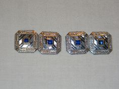 """Vintage Art Deco Faux Sapphire on Sterling Silver Cufflinks. Measures 1/2"""" square. (Sold)"""