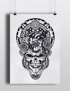 LE Juicy Venom Off White and Dark Blue Skull Screen Print
