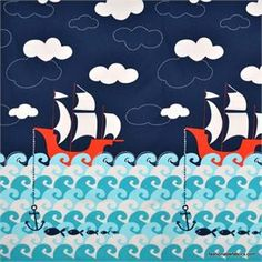 Ahoy Matey Making Waves Panel by Micheal Miller Fabrics $6.85