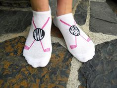 Custom printed Monogram Golf Club Socks are great gifts for your tee buddies! Sold as a set of 3 pairs our ladies personalized, white cotton no-show socks are fun and functional on and off the golf course. Personalize a pair for your favorite golfer.