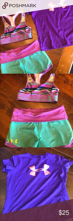 Girls under armour bundle These are in great condition! Like new! Shirt and shorts size youth medium, sports bra is a youth small Under Armour Shirts & Tops