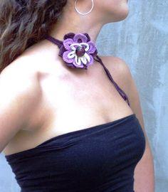 Hand crocheted choker necklace headband belt with by HEraMade, $25.00