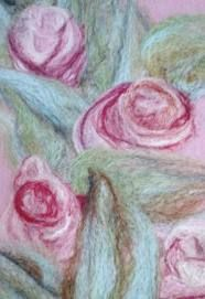 needle felting picture patterns - pink roses for Ecthelion Wet Felting Projects, Needle Felting Tutorials, Felt Fabric, Fabric Art, Felt Pictures, Creative Textiles, Machine Embroidery Projects, Wool Art, Felt Applique