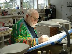 Children's book writer and illustrator, Tomie dePaola, inside his art studio.