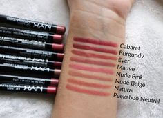 NYX Professional Makeup Slim Lip Pencils - Review and Swatches