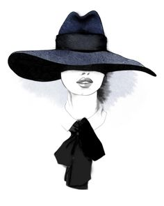 Fashion illustration - chic fashion portrait of model with a wide-brimmed fedora hat & chic neck bow // Christina Drejenstam