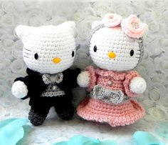Crochet Amigurumi doll pattern - Wedding kitty couple - for sale Amigurumi toy doll tutorial PDF Great inspiration!