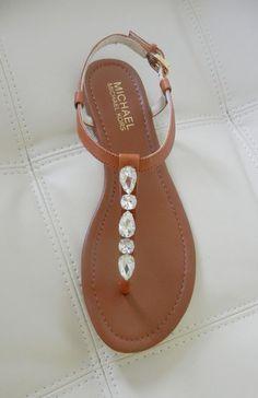New Michael Kors Jayden Jeweled Flat Thong Sandals Luggage Size 8.5 #MichaelKors #TStrap