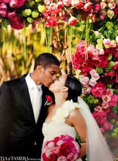 Tia Mowry and her new husband Corey Hardrict ~ Gorgeous pink wedding