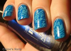OPI No Room For The Blues stamped with Sally Hansen Inst-Dri Co-Bolt Blue using a bm plate.