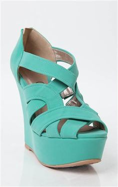 Deb Shops #mint peep toe caged strappy #wedge $34.90