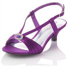 purple low heel wedding shoes