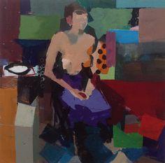 Ken Kewley, Seated Figure, Purple Shirt. 2015 acrylic on board