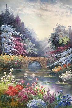 Landscape Art, Landscape Paintings, Magic Forest, Thomas Kinkade, Acrylic Canvas, Something Beautiful, Colouring Pages, Beautiful Artwork, Beautiful Landscapes