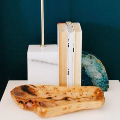 A wooden tray makes for a sculptural catch-all.