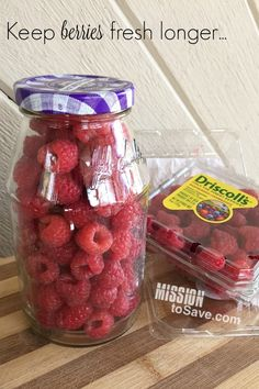 Check+out+this+frugal+living+tip+on+how+to+keep+berries+fresh+longer.+I+love+to+repurpose+jars!+Using+jars+for+DIY+projects,+organization,+and+more+are+great+ways+to+recycle+and+save+money!