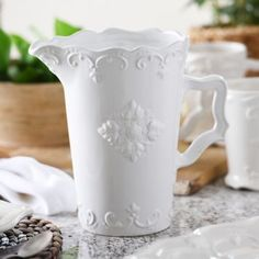 $14.99  White Sweet Olive Ceramic Pitcher | Kirklands