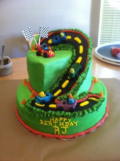 Cake made for 2 year old boy. Client asked for NO Fondant! So, cars and cones are molding chocolate candies. Everything else is buttercream.