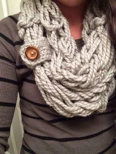 Scarf idea. Love the button.