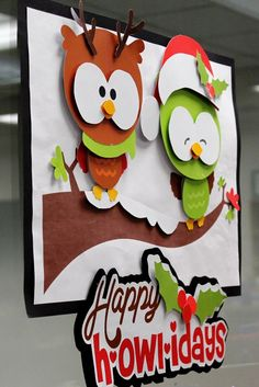 Part of a simple library display featuring just a few of our Christmas books.  Our library doesn't have bulletin boards and the glass wall between the library and lab needs to retain a good line of vision, so smaller signs work well for displays in this area.  These adorable owls and wording were created using a purchased pattern.  They were hand cut and pieced together, with small pieces of corrugated cardboard (great reuse of old boxes!) stuck behind to help some of the pieces pop out. ...
