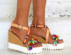 Cork wedged Heel/leather sandals/ Friendship by magosisters