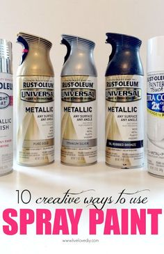 Really awesome post with great ideas and great spray paint brand and color reccs. she sprays trinkets, light fixtures, lamps, file cabinet(!!!), door knob, furniture hardware, etc... 10 Spray Paint Tips: what you never knew about spray paint. So good to know!
