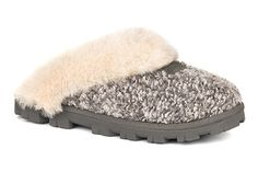 Cozy in the UGG Coquette Boucle slipper in Moonbeam!