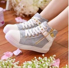 Women new fashion Spring autumn rivet canvas casual high lace-up flat side zipper buckle shoes Pretty Shoes, Cute Shoes, Me Too Shoes, Fashion Boots, Sneakers Fashion, Kawaii Shoes, Shoe Boots, Shoes Heels, Shoes Sneakers