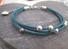 Leren armband / Sea green