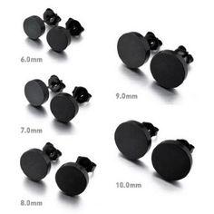 JBlue Jewelry men's 8MM Stainless Steel Earrings Stud Black 2PCS (with Gift Bag)